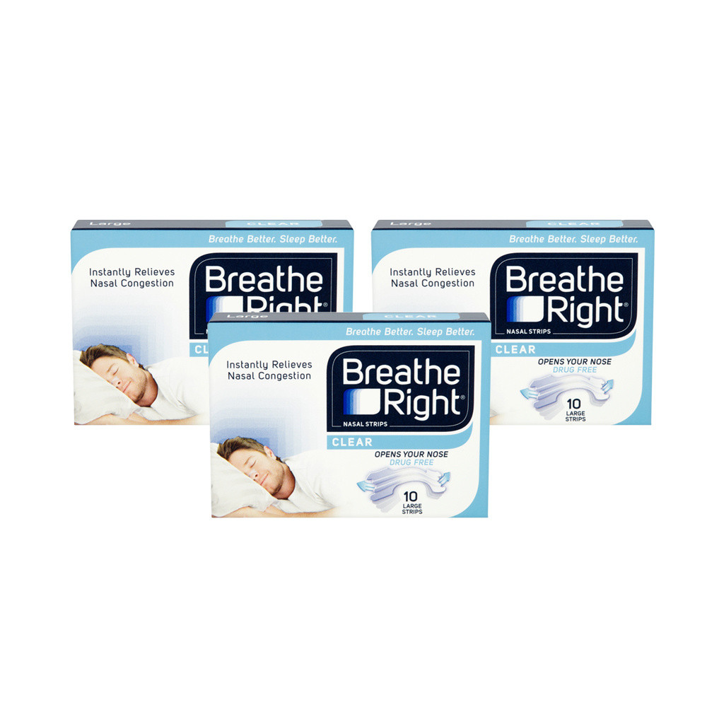 Breathe Right Congestion Relief Nasal Strips Clear Large Triple Pack